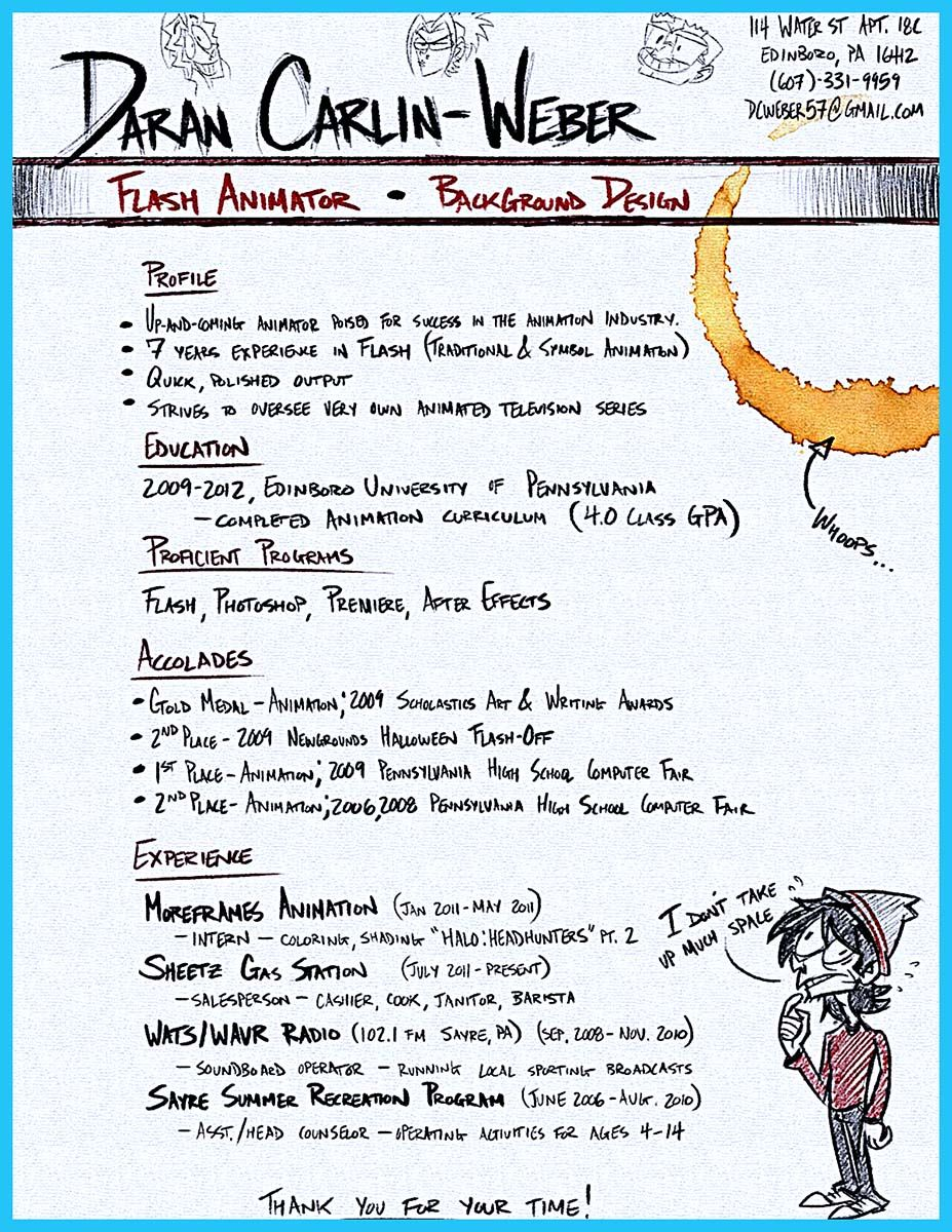 Animation Resume If You Like To Work In Creative Art Design You Can - Art design document