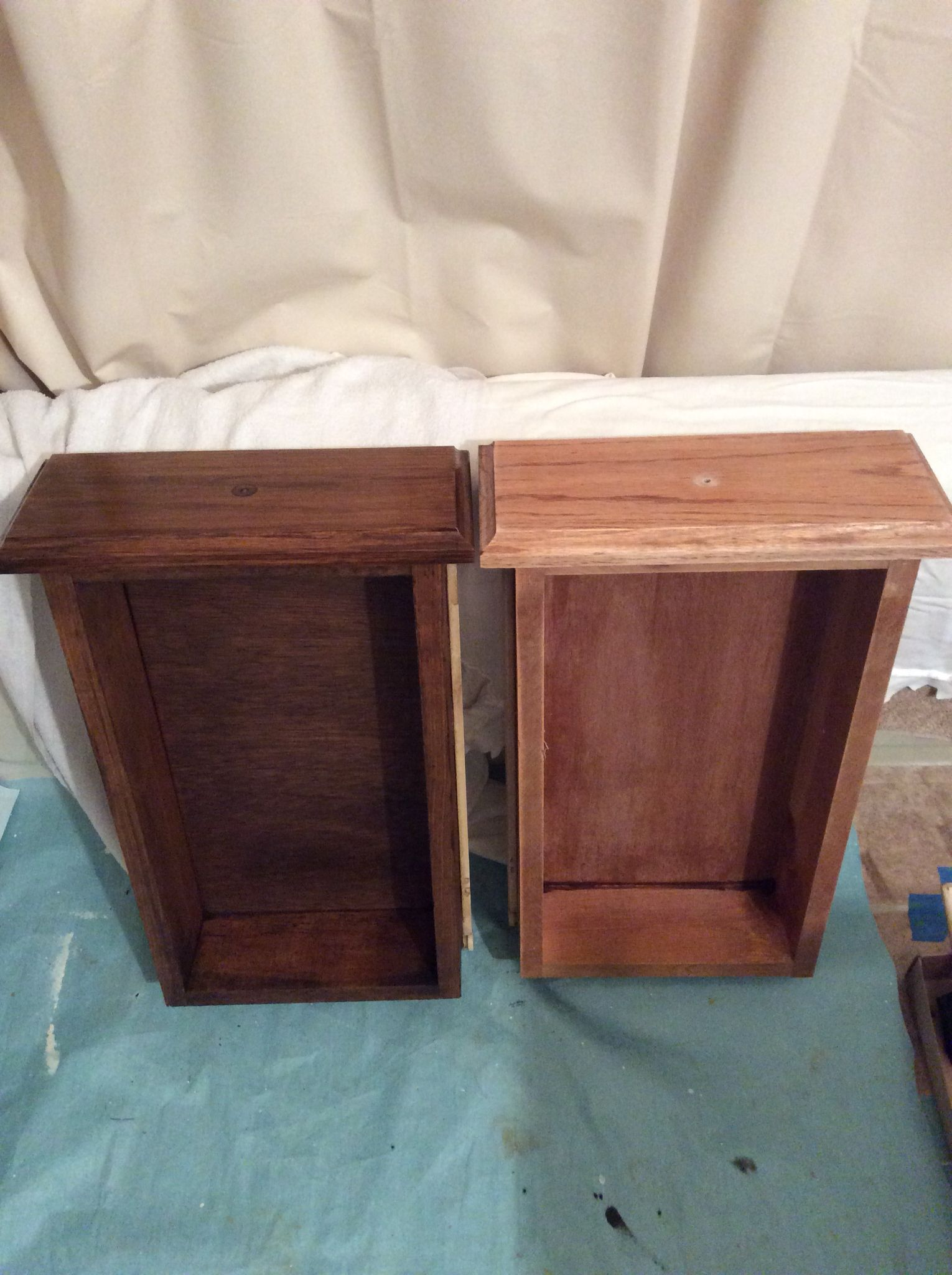 Updated dark walnut stain on left and old golden oak on right