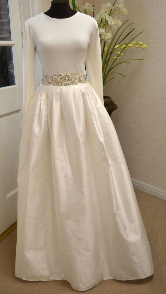 Long Sleeve Wedding Dress Couture Two Piece by CouturesbyLaura