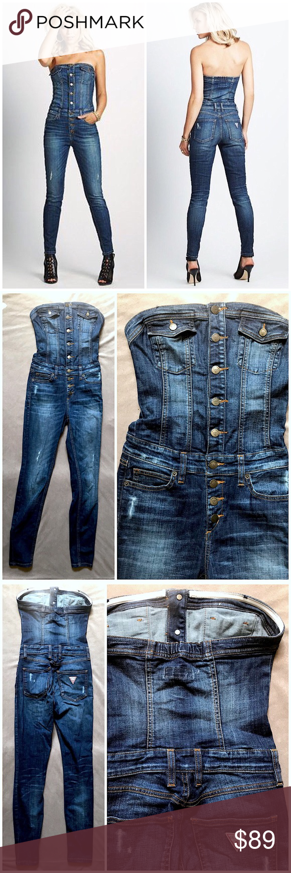 afaa26b50 Guess Jeans Dark Safari Denim Bustier Jumpsuit Guess Jeans Blue Dark Safari  Wash Denim Distressed Strapless