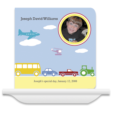Customizable Cars & Truck Baby Board Book from Pint Size Productions Board Books