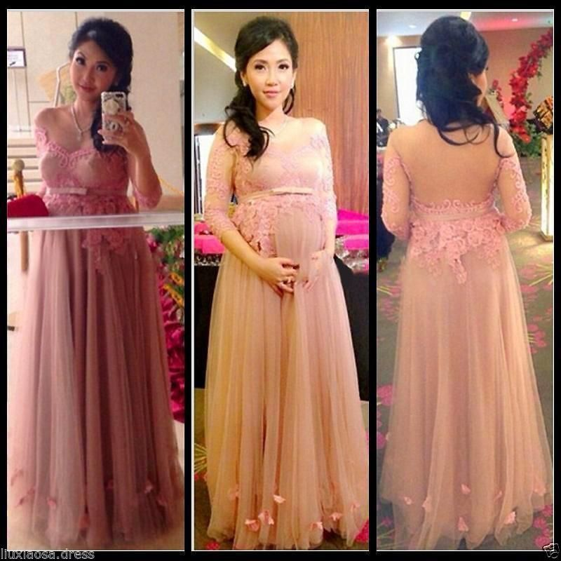 Hot Plus Size Tulle Appliques Maternity Evening Party Dress for Pre ...