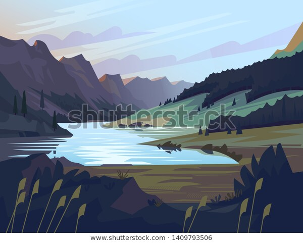 Peaceful Quiet Uninhabited Landscape Mountain Valley Stock Vector Royalty Free 1409793506 Scenery Beautiful Nature Landscape