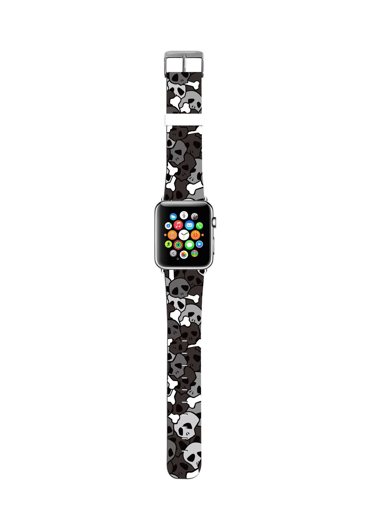 Black Skull Pattern Apple watch bands, Apple watch