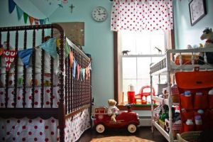 White And Red Polka Dots Fire Truck Fireman Theme Baby Nursery We Decided Not To Use A Traditional Set Of Bedding For Our