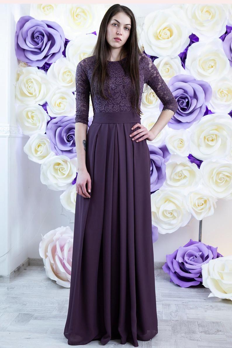 Purple bridesmaid dress long. Modest lace and chiffon