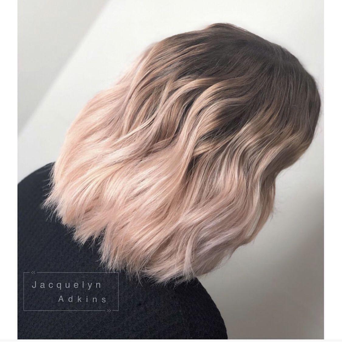 Follow Me On Instagram Unevneib Dark Root Soft Pink Ends Hair Short Hair Light Rose Hair Rose Gold Wavy Hair Wand Cur Light Pink Hair Pink Hair Dye Light Hair