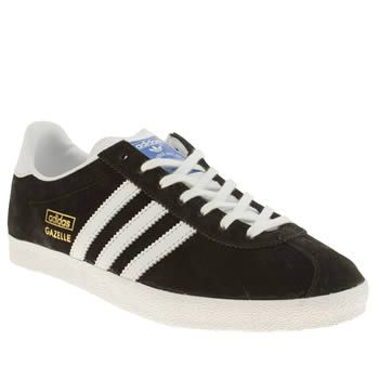 Womens Adidas Black White Gazelle Og Ii Trainers