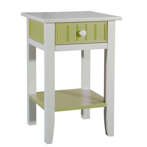 Cottage White And Lime Green End Table Papila Design Tables Accent Living Room