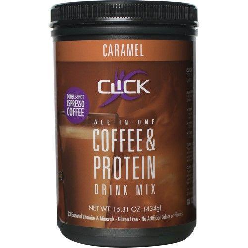 Click Caramel Espresso Protein Drink Mix, 15.31 Oz, Brown