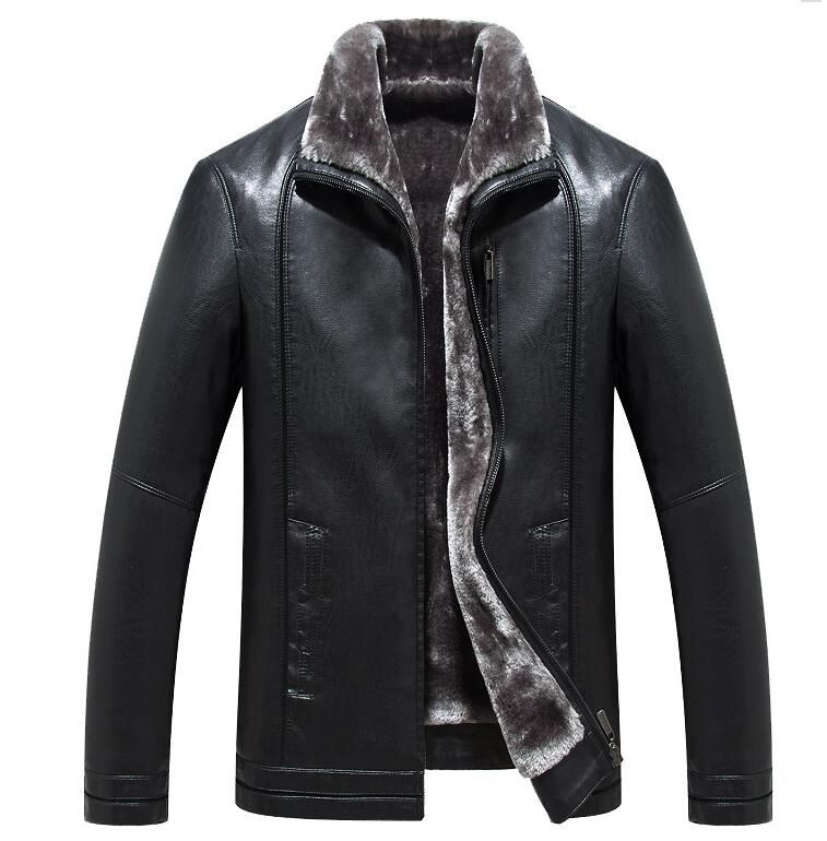 3932a5c7eb7 High quality New Plus Size Men s Business Casual Leather jacket Korean Men  Winter Warm stand collar Outwear Slim Fur Coats M-5XL