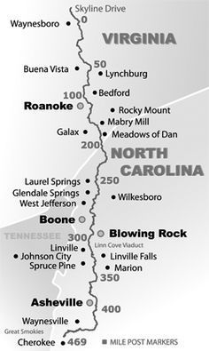 Simple Blue Ridge Parkway Map by mile post marker in 2019 ...