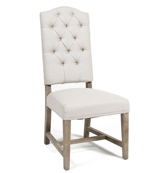 Ava Camelback Tufted Linen Dining Chair