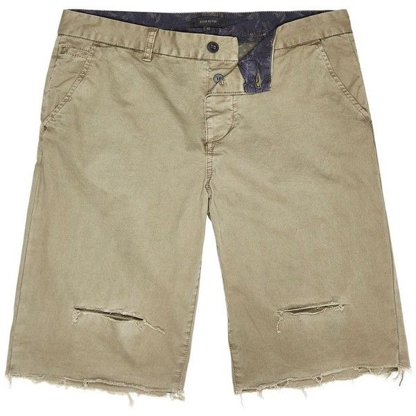 River Island Khaki distressed slim fit shorts (3230 RSD) ❤ liked ...