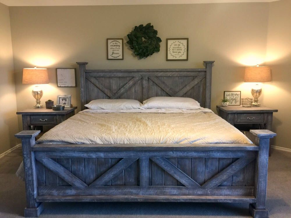 Rustic King Bedroom Set   Farmhouse Style King Bed, Night Stands, Barn Wood  Finish By WalkersRustics On Etsy ...