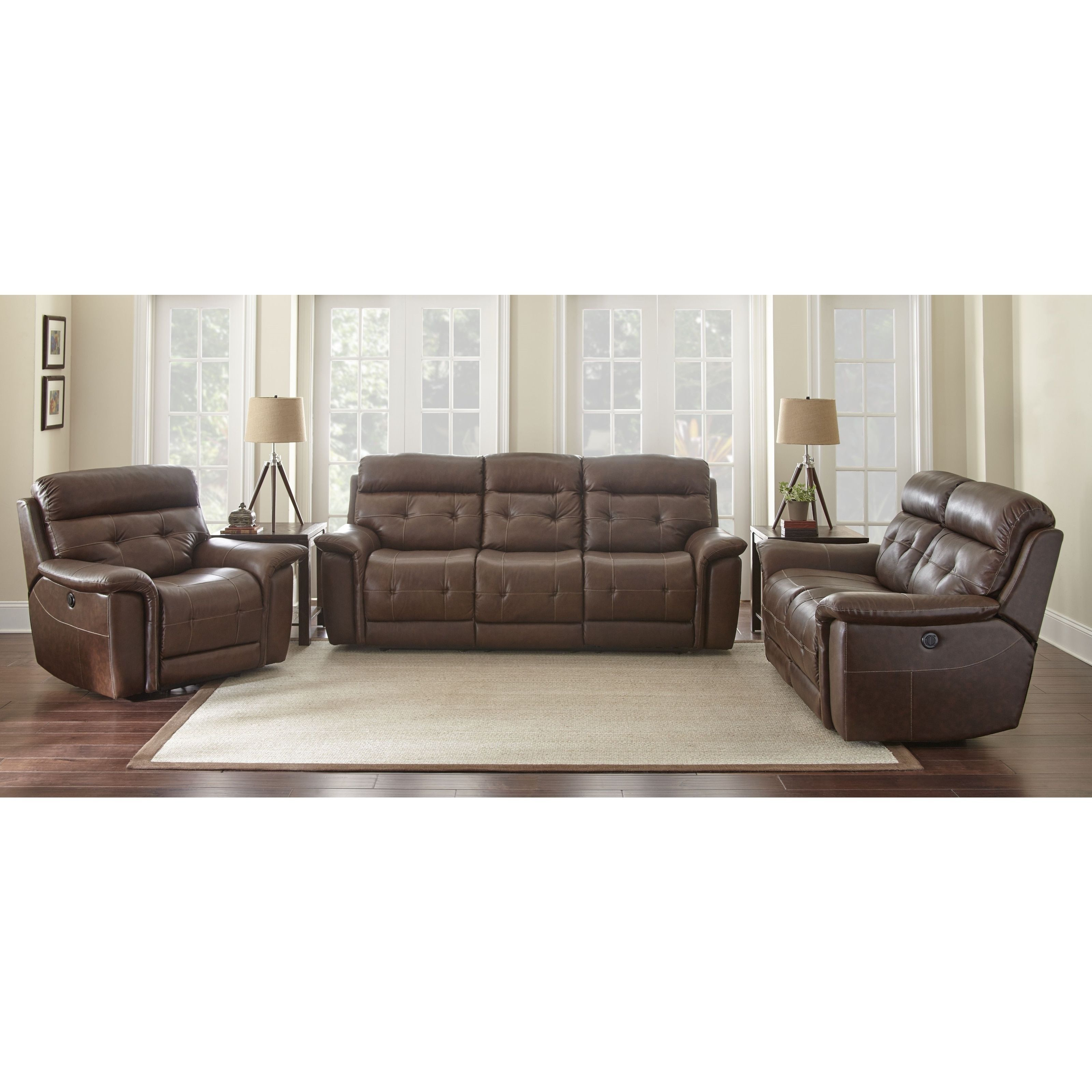 Olbia 3-Piece Top Grain Leather Power Reclining Living Room Set by ...