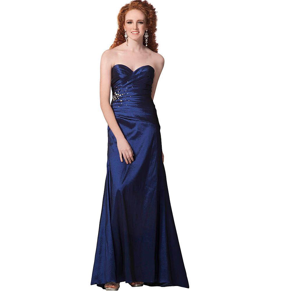 Long royal blue prom dress with jeweled embellishment