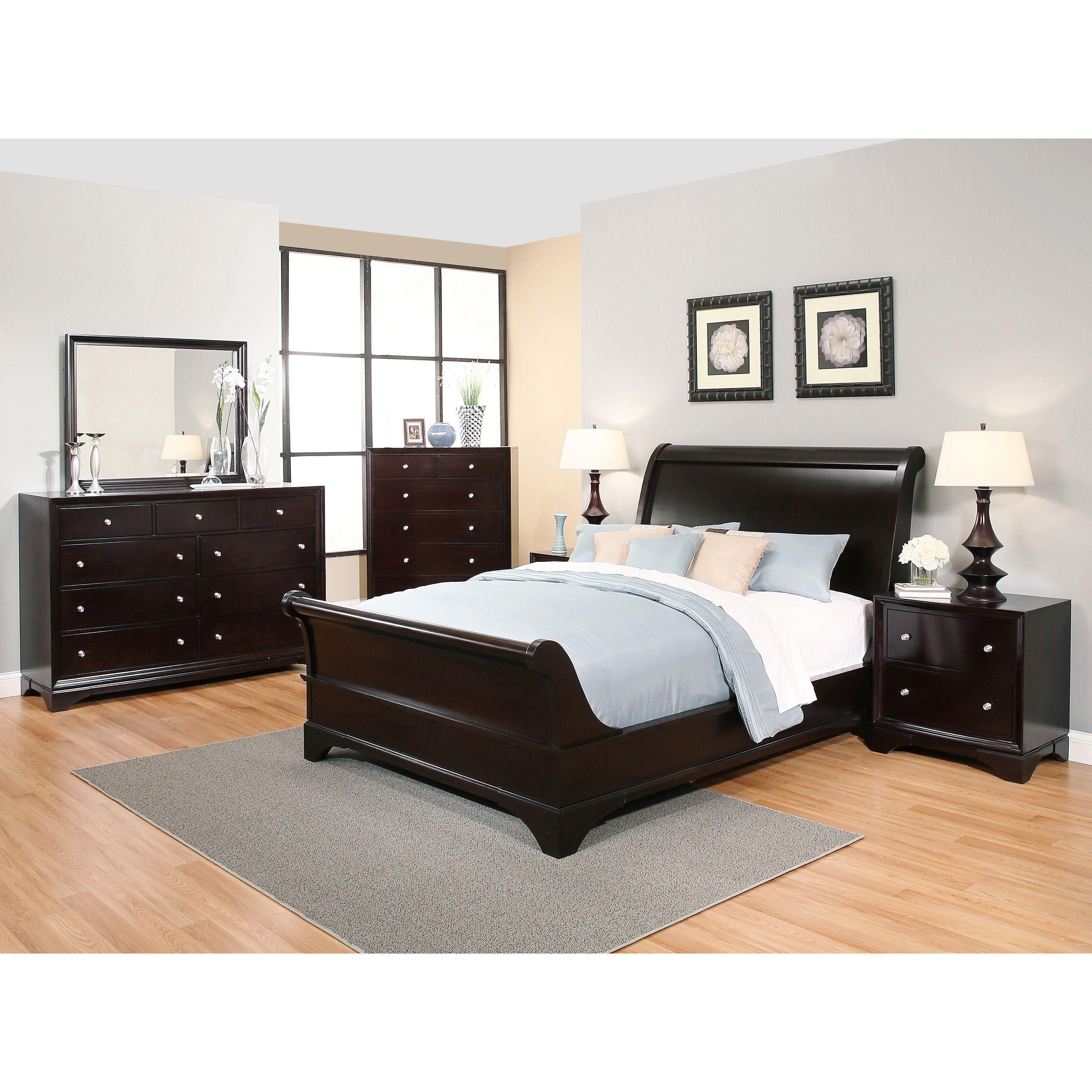 Abbyson Kingston 6-piece Espresso Sleigh Bedroom Set (