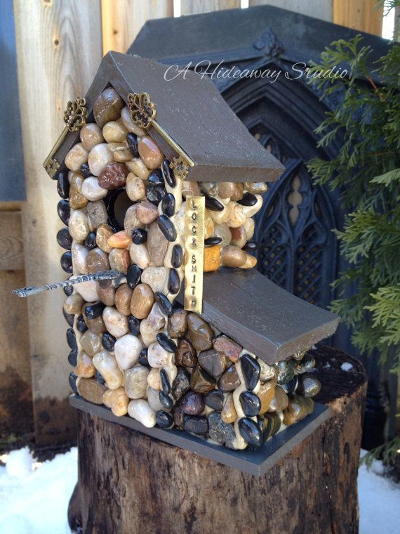 Whimsical Stone Birdhouse Locksmith by AHideawayStudio on Etsy