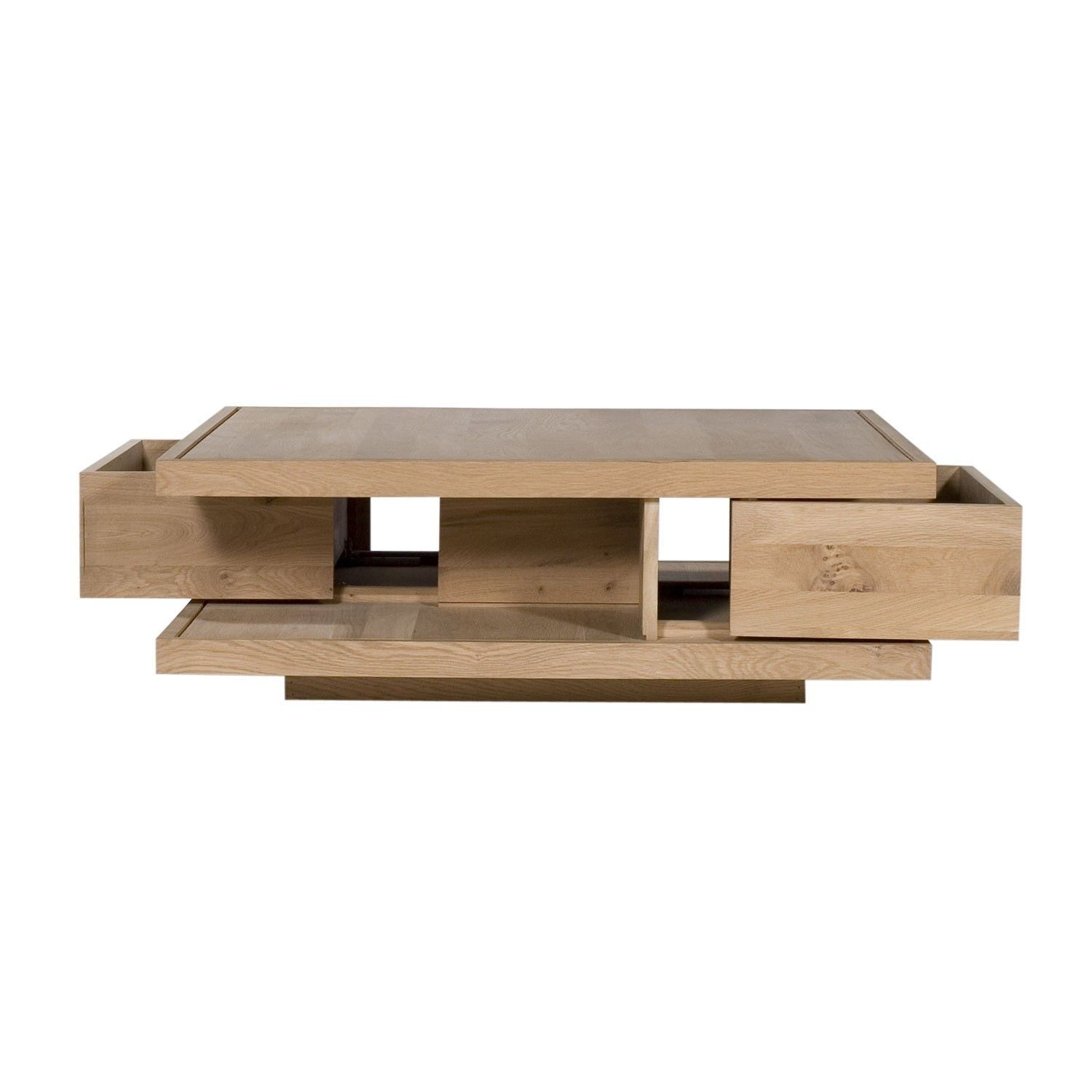 Oak Flat Square Coffee Tables 2 Drawers