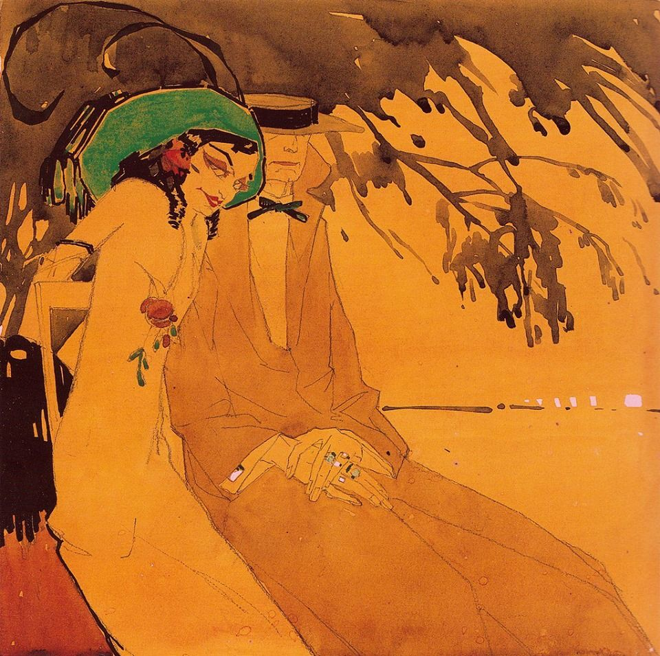 """Vadim Nikolaevich Nevsky (1885 -?). """"Le chat et la chatte."""" 1913"""