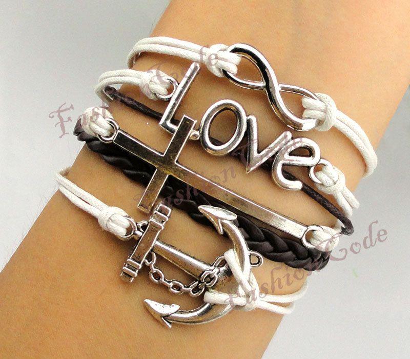 Infinity, Anchor, Love & Cross Charm BraceletAntique