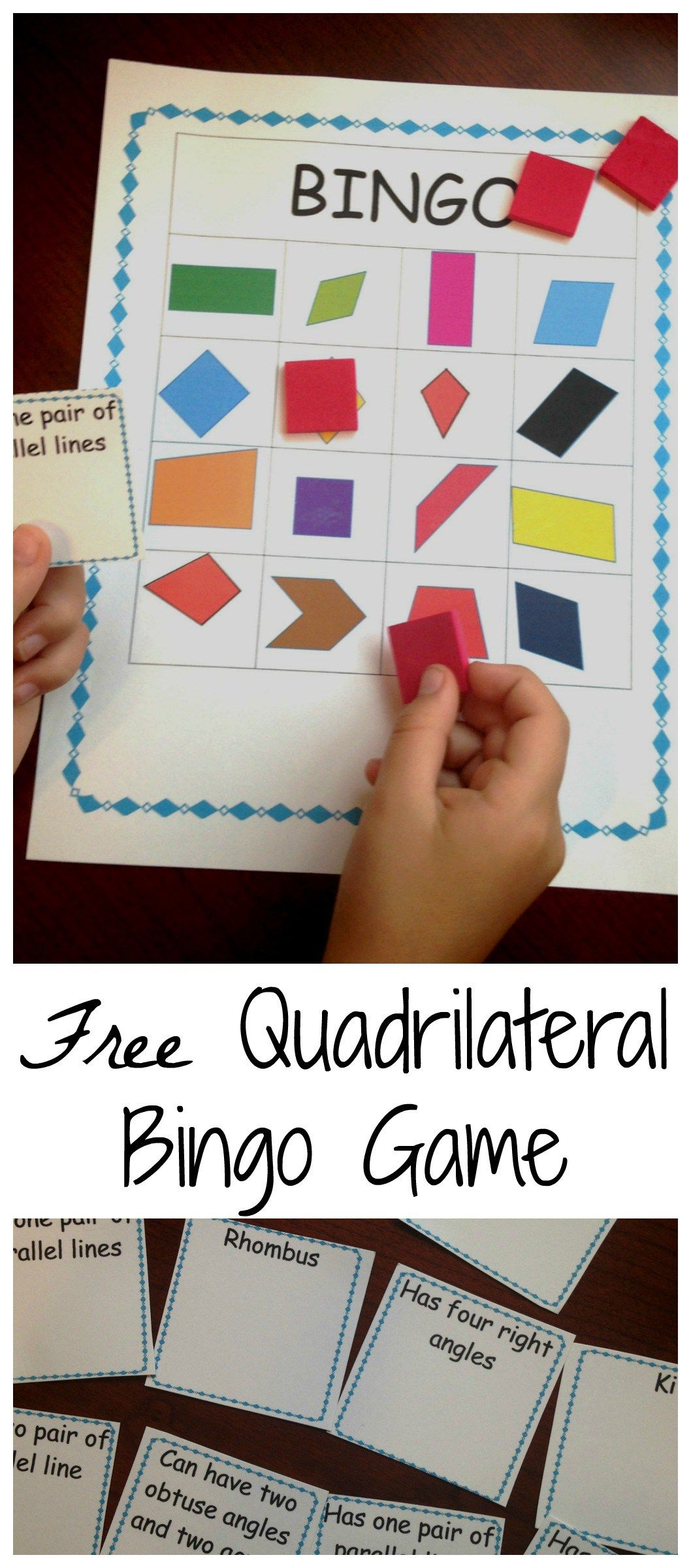 How To Review Classifying Quadrilaterals With This Free Quadrilateral Bingo Game