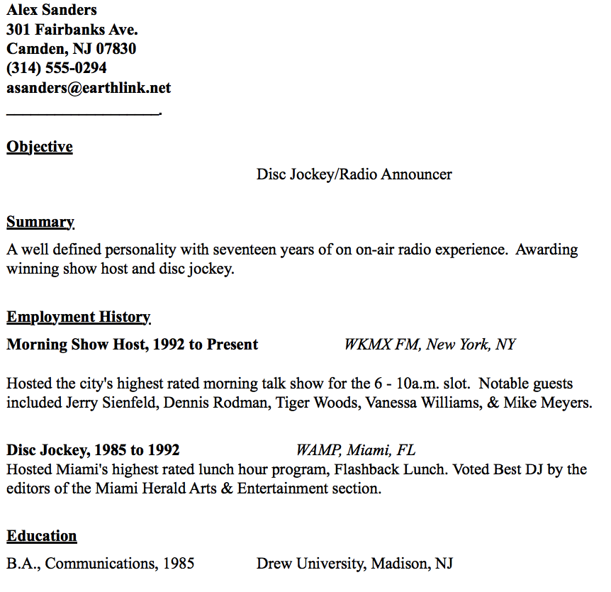 Disc Jockey Resume Example  HttpResumesdesignComDiscJockey