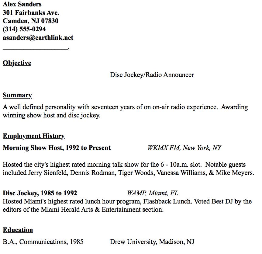 Disc Jockey Resume Example Resumesdesign Resume Template Examples Resume Examples Sample Resume Templates