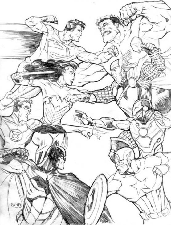 Avengers vs justice league coloring page printable