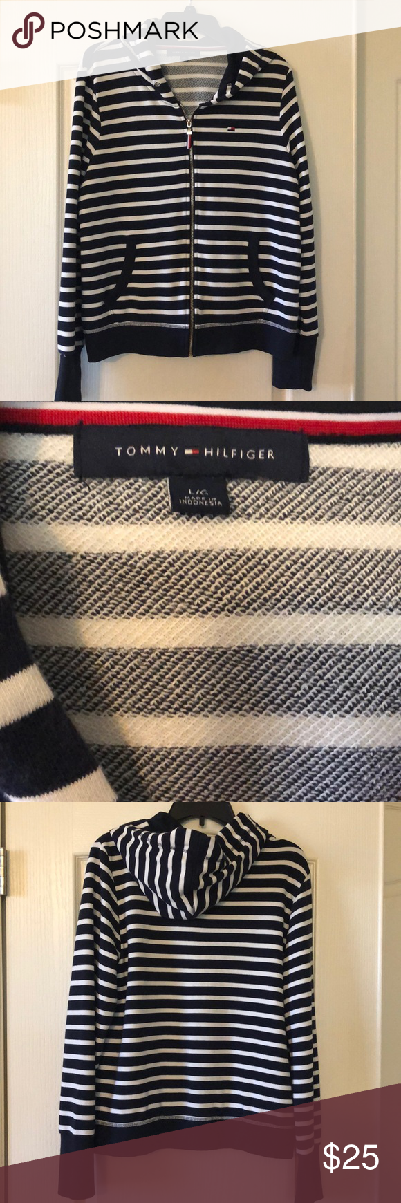 Tommy Hilfiger striped zip up hoodie Tommy hilfiger