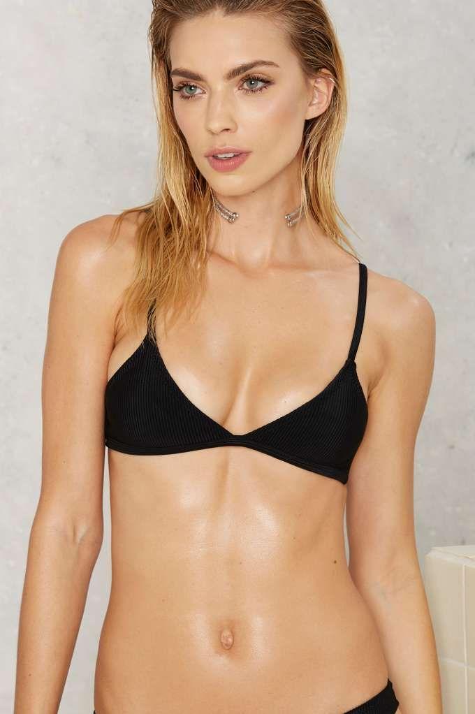 b4fb420c64 Nasty Gal Alina Mix   Match Ribbed Bikini Top - Black - Swim Shop ...