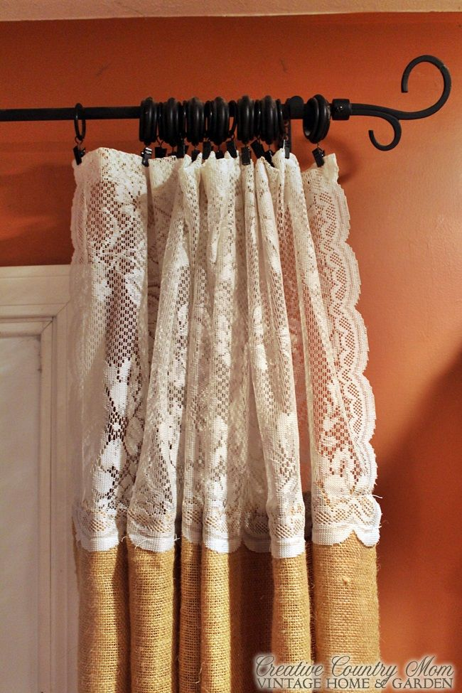 Creative Country Mom 39 S Sewing Burlap And Lace Curtains Hometalk Funky Junk Present