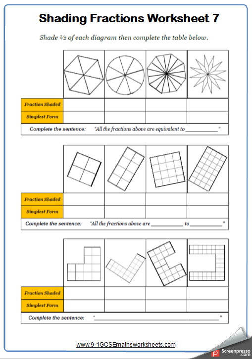 Fractions Worksheets Outstanding Maths Worksheets