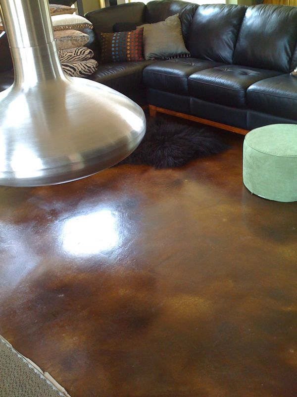 Stained Concrete Living Room In Charlottesville Va Diy Concrete