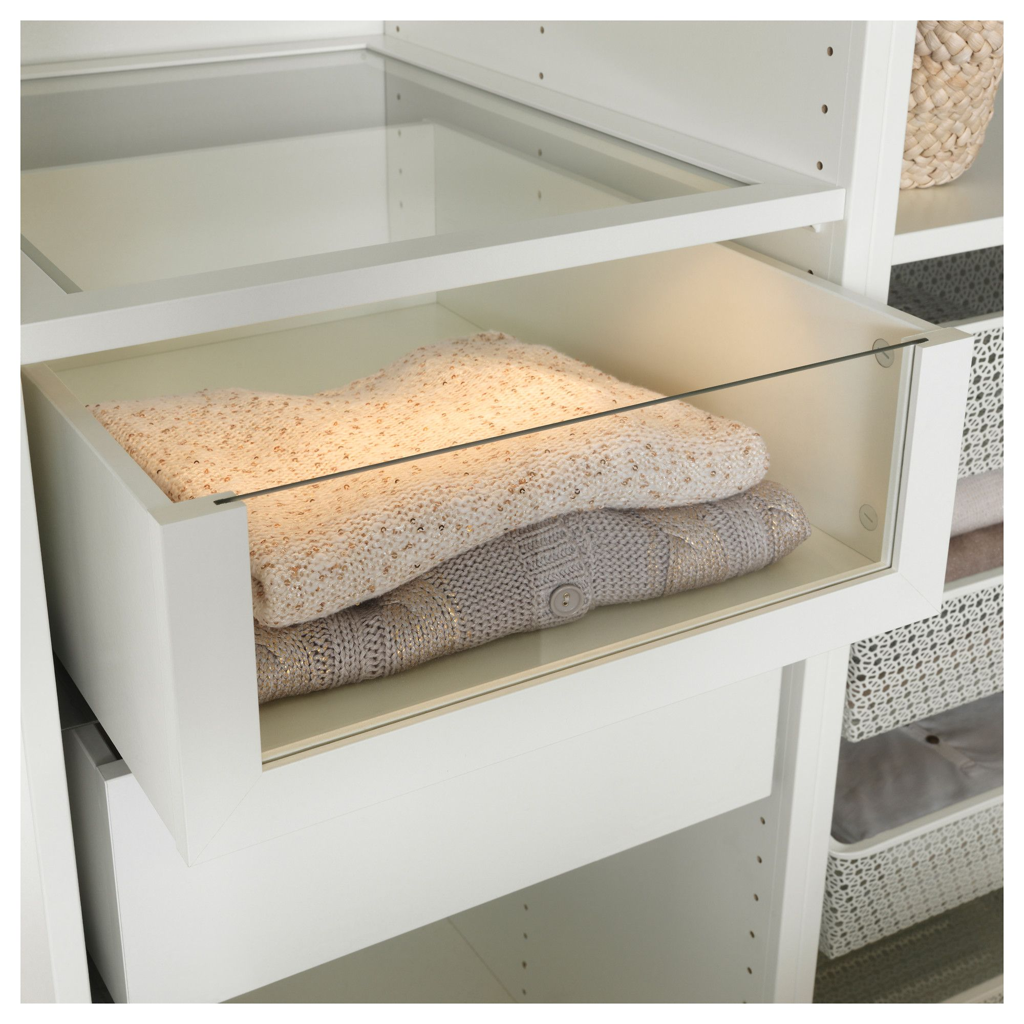 Ikea Komplement Drawer With Glass Front White Closet In