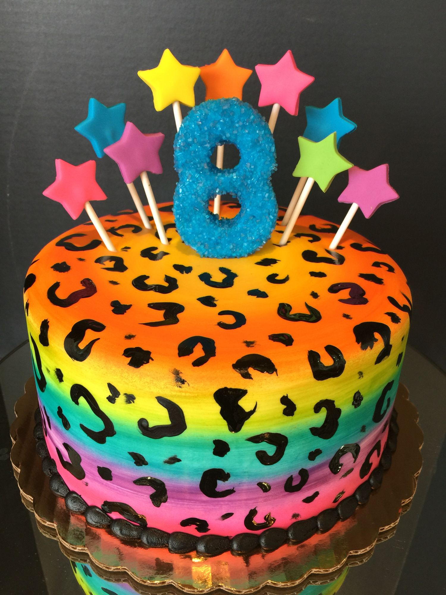 Cool Rainbow Cheetah Cake Frostedflourlodica 6Th Birthday Cakes Funny Birthday Cards Online Benoljebrpdamsfinfo