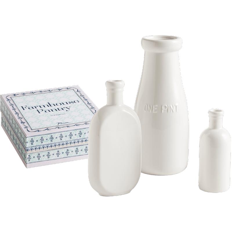 Rosanna // White Porcelain Farmhouse Pantry Bottle Bud Vases, Set of 3