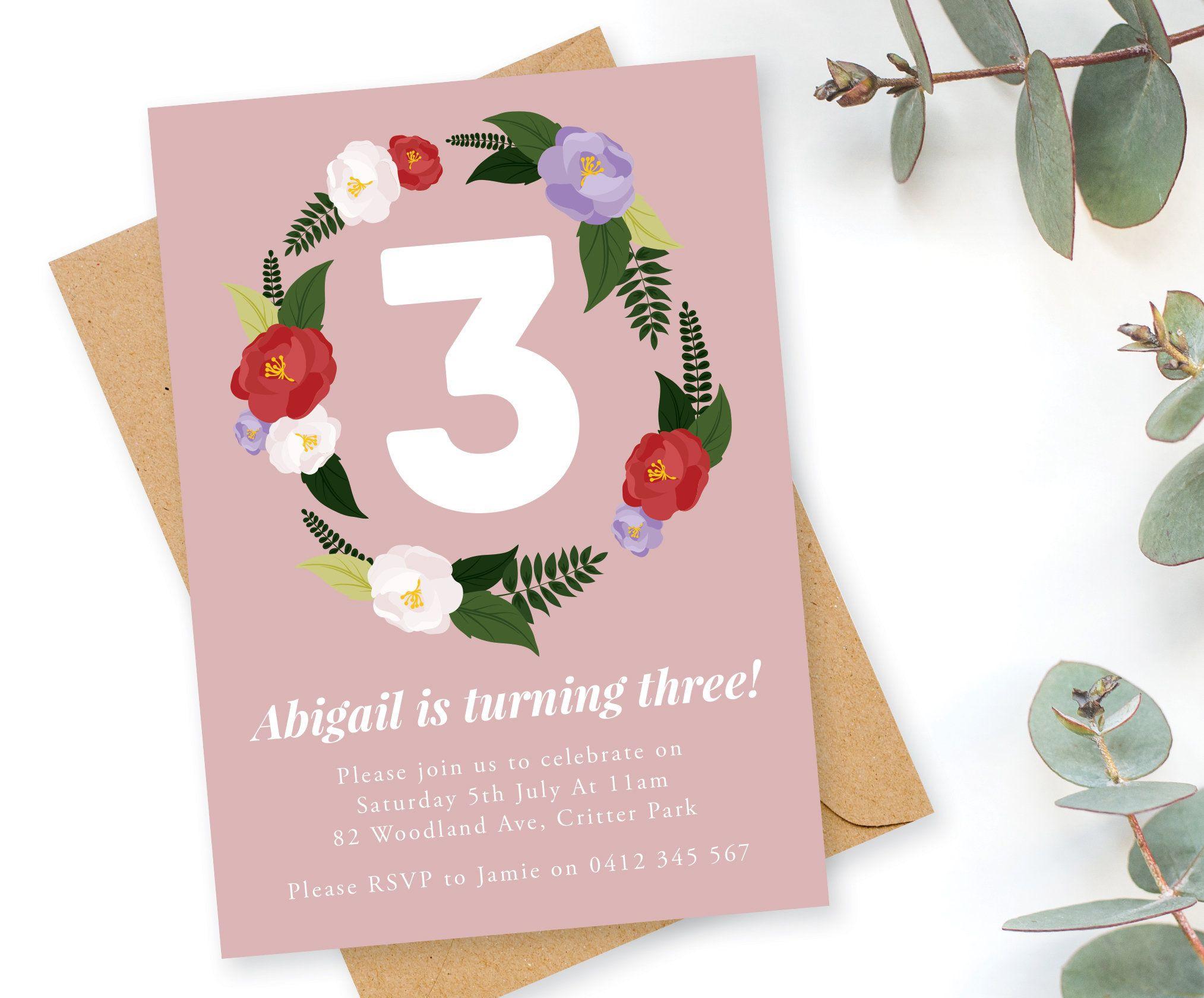 Floral 3rd Birthday Invitation Invites Printable Invite