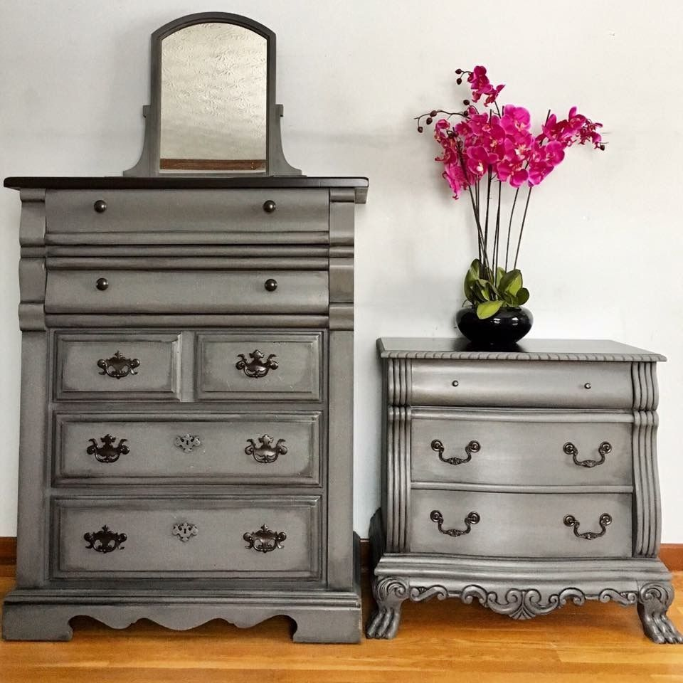 hurricane grey with black glaze and dark stained top