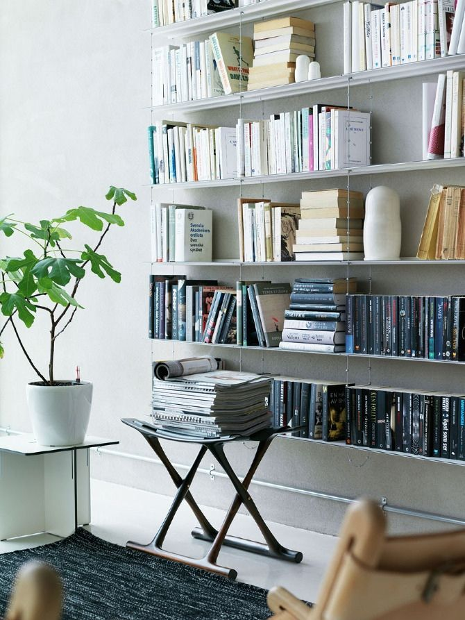 Beautiful photography by petra bindel for the bespoke string shelving system in fresh scandinavian style