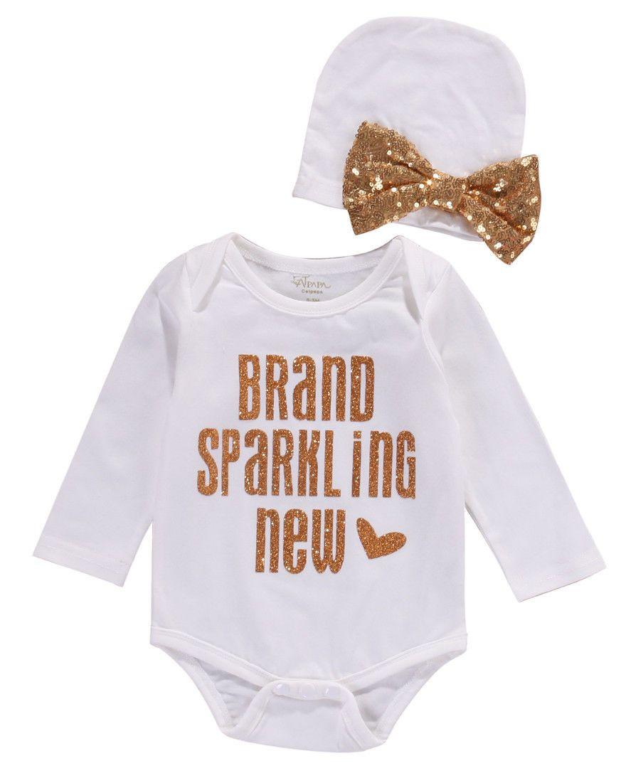 2 Stks Pailletten Pasgeboren Baby Meisjes Jongens Bodysuit Kleding Leuke Brief Jumpsuit Hoed 2 stks Katoen Outfit Meisje Kleding Set
