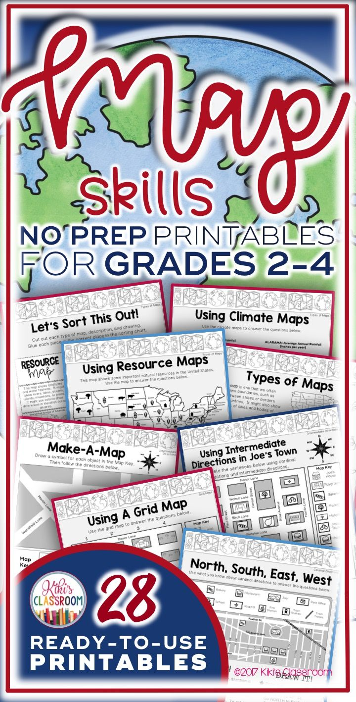 Map Skills Activities for Grades 2-4 ~ Ready to Use Printables: Types of  Maps [ 1418 x 720 Pixel ]