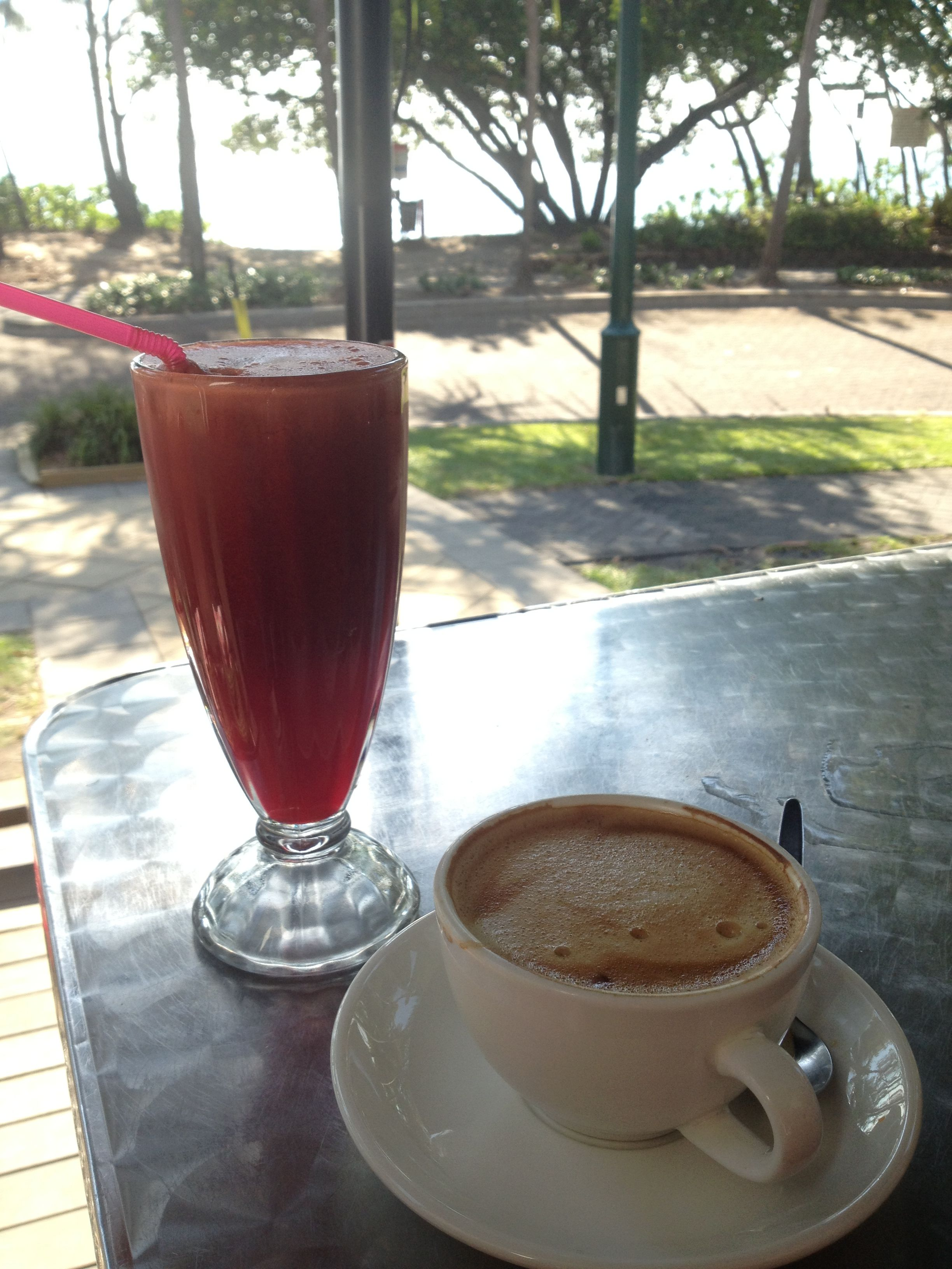 Cabala juice and a rice milk flat white in Palm Cove, QLD ~ way to go Chill Cafe! :)