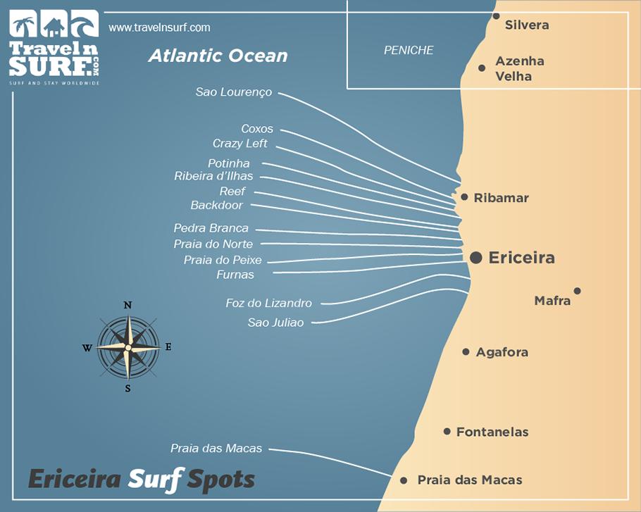 Httpwwwtravelnsurfcomesrzonadeericeira Surf Spots - Portugal map ericeira
