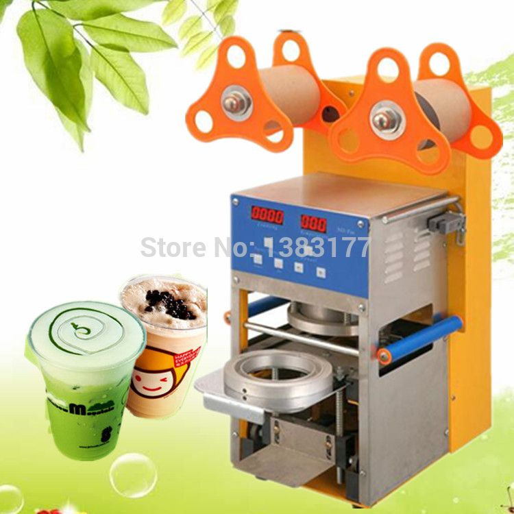 $698.00 (Buy here: http://appdeal.ru/ev8l ) 17cm height commercial bubble tea coffee cup sealing machine electric cup sealing Stainless steel  trays automatic cup sealer for just $698.00
