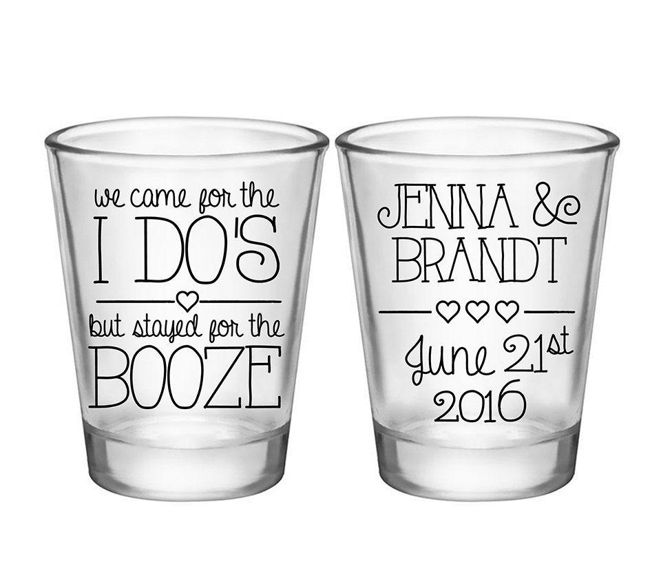 Wedding Shot Glasses: 100x Custom Wedding Favors 2 Side Shot Glasses