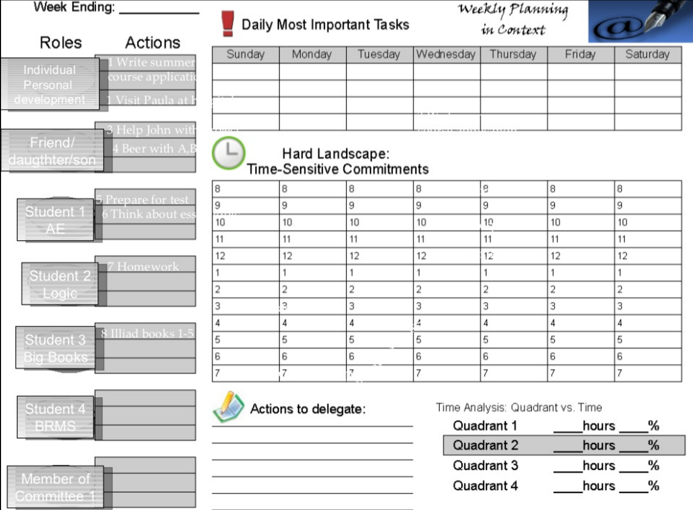 Goal Planning Weekly