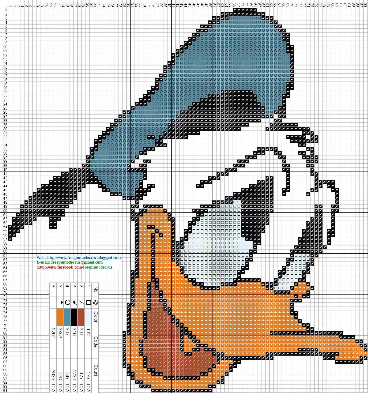 Pato Donald - Patron punto de cruz 88 x 94 puntos 5 colores DMC | bb ...
