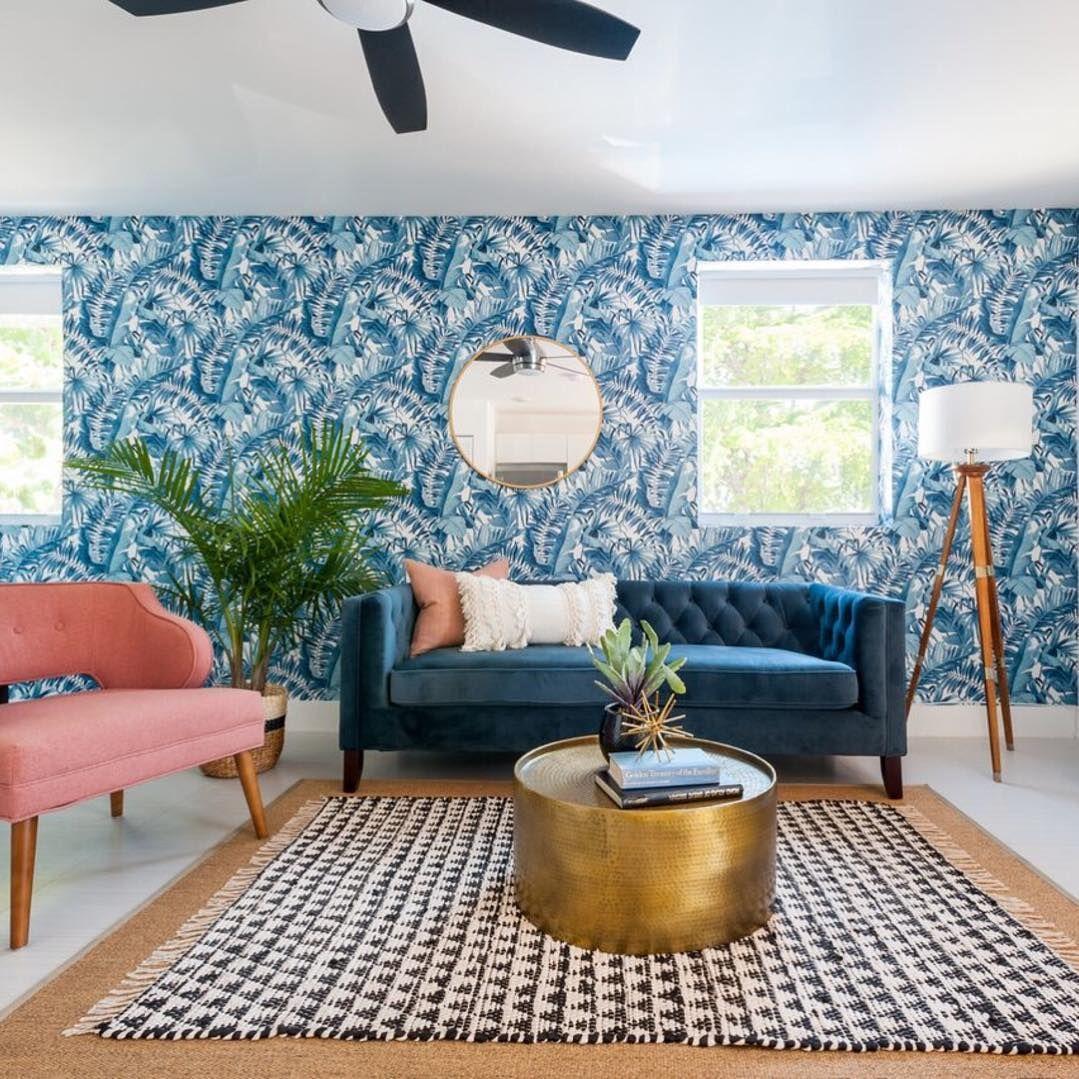 Alfresco Navy Palm Leaf Wallpaper In 2020 Tropical Decor Living Room Tropical Living Room Palm Leaf Wallpaper #tropical #decor #living #room